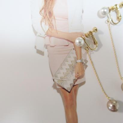 double pearl  chain earring
