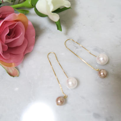 Boxchain pearl pierce /14K