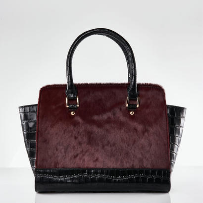 Croco Handbag / Rose Winered Color