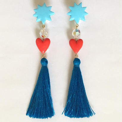 STAR & HEART TASSEL ピアス