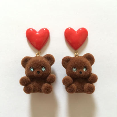 RED HEART BEAR イヤリングor ピアス