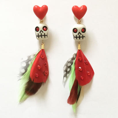 HEART SKULL FEATHER ピアス