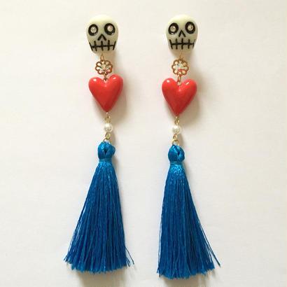 SKULL & HEART TASSEL ピアス(BLUE)