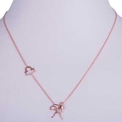Rose Gold 925 Zodiac Ncklace Libra てんびん座