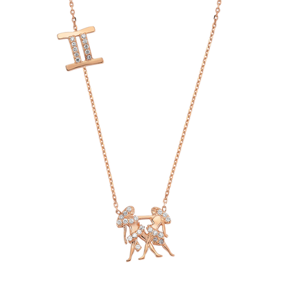 Rose Gold 925 Zodiac necklace Gemini  /ふたご座