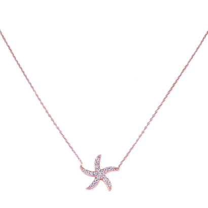 Rose Gold Plated Sterling Silver Star Fish Necklace