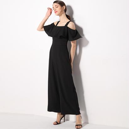 パーティードレス パンツ 結婚式 二次会 パンツドレス 結婚式ドレス お呼ばれドレス 20代 30代 40代 ロングドレス 袖あり 黒