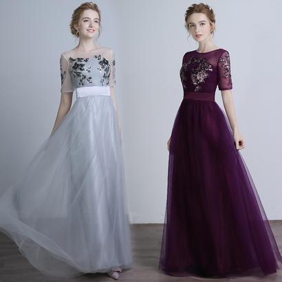 パーティードレス 結婚式 二次会 ワンピース 結婚式ドレス お呼ばれワンピース 20代 30代 40代 ロングドレス 袖あり 紫 レース 花柄