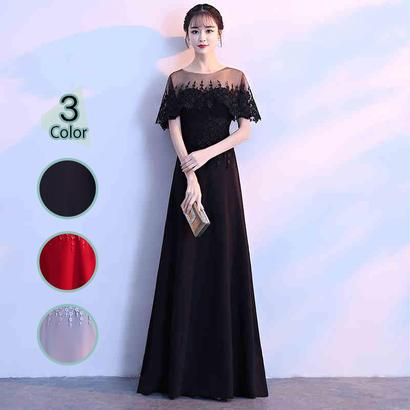 ロングドレス パーティードレス 結婚式 二次会 ワンピース 結婚式ドレス お呼ばれワンピース 20代 30代 40代 黒 赤 花柄 刺繍