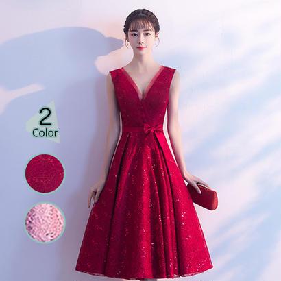 パーティードレス 結婚式 二次会 ワンピース 結婚式ドレス お呼ばれワンピース 20代 30代 40代 ミモレ丈 ピンク ワインレッド レース