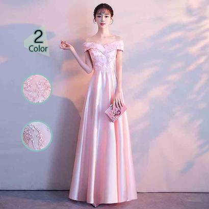 ロングドレス パーティードレス 結婚式 二次会 ワンピース 結婚式ドレス お呼ばれワンピース 20代 30代 40代 ピンク 刺繍