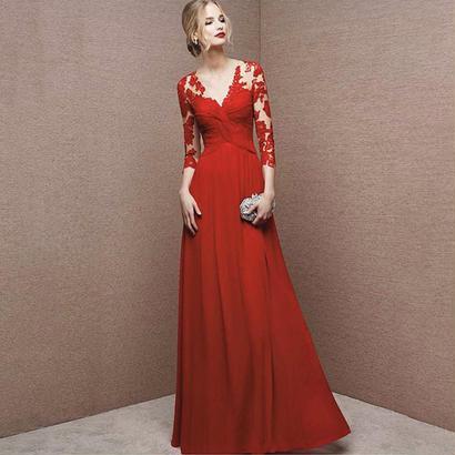 パーティードレス 結婚式 二次会 ワンピース 結婚式ドレス お呼ばれワンピース 20代 30代 40代 ロングドレス 袖あり 赤 レース