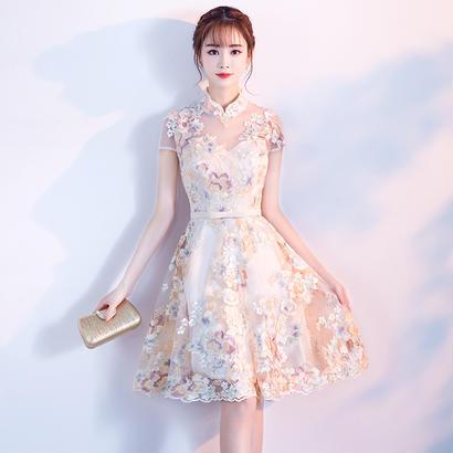 パーティードレス 結婚式 二次会 ワンピース 結婚式ドレス お呼ばれワンピース 20代 30代 40代 袖あり ひざ丈 レース 花柄
