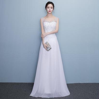 パーティードレス 結婚式 二次会 ワンピース 結婚式ドレス お呼ばれワンピース 20代 30代 40代 袖あり レース 花柄 刺繍 シフォン