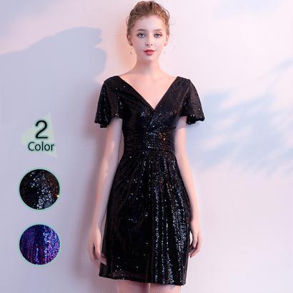 パーティードレス 結婚式 二次会 ワンピース 結婚式ドレス お呼ばれワンピース 20代 30代 40代 袖あり ショート ミニ 黒 ブルー