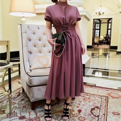パーティードレス 結婚式 二次会 ワンピース 結婚式ドレス お呼ばれワンピース 20代 30代 40代 袖あり ミモレ丈 ピンク