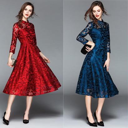 パーティードレス 結婚式 二次会 ワンピース 結婚式ドレス お呼ばれワンピース 20代 30代 40代 袖あり ミモレ丈 黒 赤 ブルー