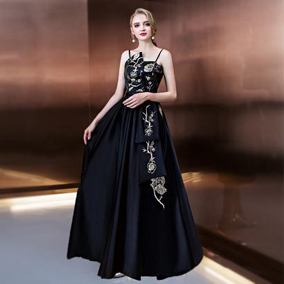 パーティードレス 結婚式 二次会 ワンピース 結婚式ドレス お呼ばれワンピース 20代 30代 40代 演奏会 ロングドレス 黒 花柄
