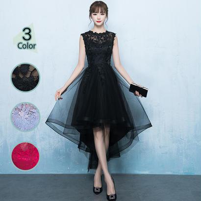 パーティードレス 結婚式 二次会 ワンピース 結婚式ドレス お呼ばれワンピース 20代 30代 40代 ミニ丈 黒 赤 ワインレッド レース 刺繍