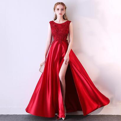 スリットデザインAラインノースリーブロングドレス