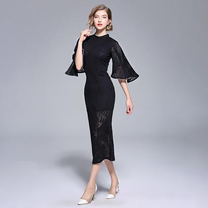 パーティードレス 結婚式 二次会 ワンピース 結婚式ドレス お呼ばれワンピース 20代 30代 40代 袖あり ミモレ丈 黒 刺繍
