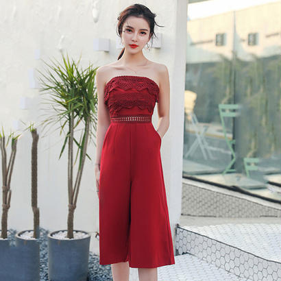 パーティードレス パンツ 結婚式 二次会 パンツドレス 結婚式ドレス お呼ばれドレス 20代 30代 40代 ひざ下丈 黒 赤 刺繍