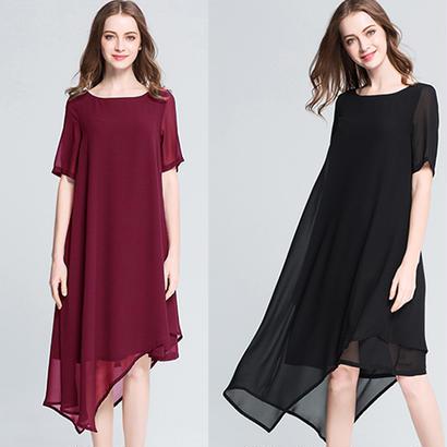 20代30代40代 シンプルで大人カジュアルなシフォンひざ丈ドレス