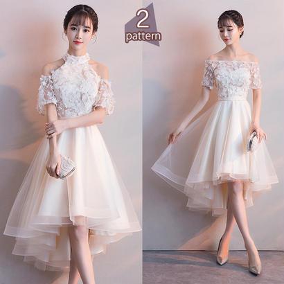 パーティードレス 結婚式 二次会 ワンピース 結婚式ドレス お呼ばれワンピース 20代 30代 40代 袖あり ひざ丈 白 レース 刺繍 花柄
