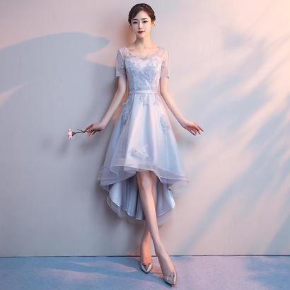 パーティードレス 結婚式 二次会 ワンピース 結婚式ドレス お呼ばれワンピース 20代 30代 40代 袖あり ひざ丈 ミモレ丈 レース 花柄 刺繍