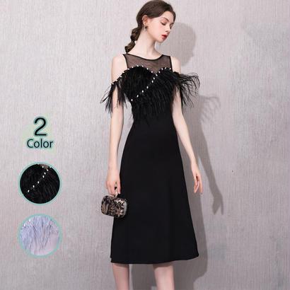 パーティードレス 結婚式 二次会 ワンピース 結婚式ドレス お呼ばれワンピース 20代 30代 40代 ミモレ丈 黒 シフォン