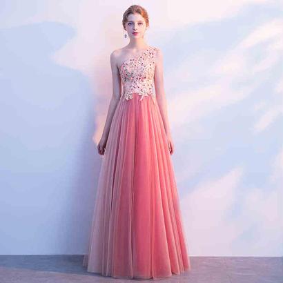 ロングドレス パーティードレス 結婚式 二次会 ワンピース 結婚式ドレス お呼ばれワンピース 20代 30代 40代 ピンク レース 花柄 刺繍