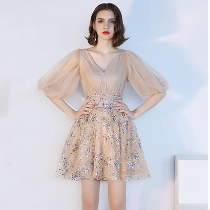 パーティードレス 結婚式 二次会 ワンピース 結婚式ドレス お呼ばれワンピース 20代 30代 40代 袖あり ミニ レース シフォン