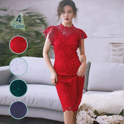 パーティードレス 結婚式 二次会 ワンピース 結婚式ドレス お呼ばれワンピース 20代 30代 40代 袖あり ひざ丈 黒 赤 緑 刺繍