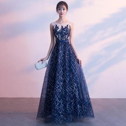 ロングドレス パーティードレス 結婚式 二次会 ワンピース 結婚式ドレス お呼ばれワンピース 20代 30代 40代 ネイビー レース 花柄 刺繍
