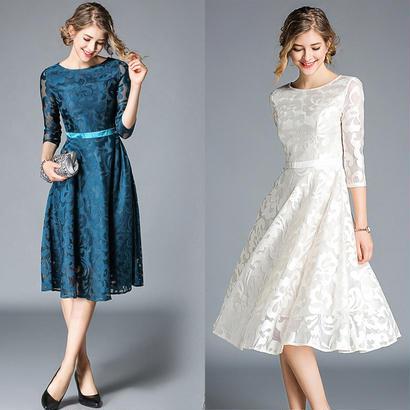 パーティードレス 結婚式 二次会 ワンピース 結婚式ドレス お呼ばれワンピース 20代 30代 40代 袖あり ひざ下丈 ブルー レース