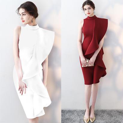 パーティードレス 結婚式 二次会 ワンピース 結婚式ドレス お呼ばれワンピース 20代 30代 40代 ひざ丈 赤 白