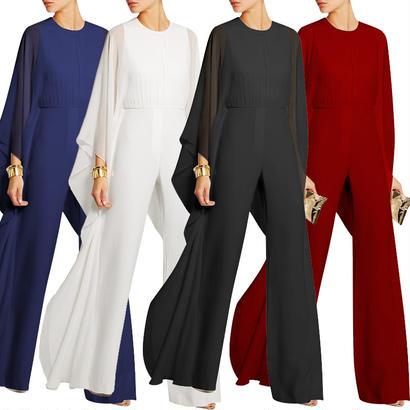 パーティードレス パンツ 結婚式 二次会 パンツドレス 結婚式ドレス お呼ばれドレス 20代 30代 40代 ロングドレス 袖あり 黒 赤 ブルー