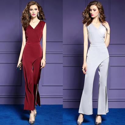 パーティードレス パンツ 結婚式 二次会 パンツドレス 結婚式ドレス お呼ばれドレス 20代 30代 40代 ロングドレス 袖あり 赤