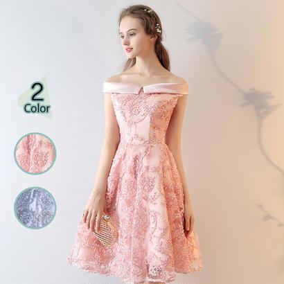 パーティードレス 結婚式 二次会 ワンピース 結婚式ドレス お呼ばれワンピース 20代 30代 40代 ひざ丈 ピンク レース 刺繍 花柄