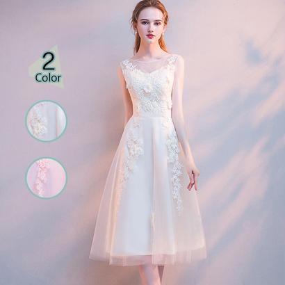パーティードレス 結婚式 二次会 ワンピース 結婚式ドレス お呼ばれワンピース 20代 30代 40代 ミモレ丈 ピンク レース 刺繍 花柄