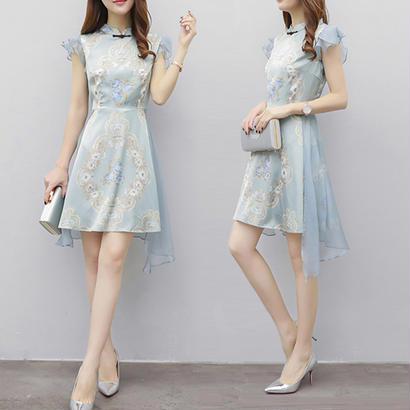パーティードレス 結婚式 二次会 ワンピース 結婚式ドレス お呼ばれワンピース 20代 30代 40代 袖あり ショート 花柄