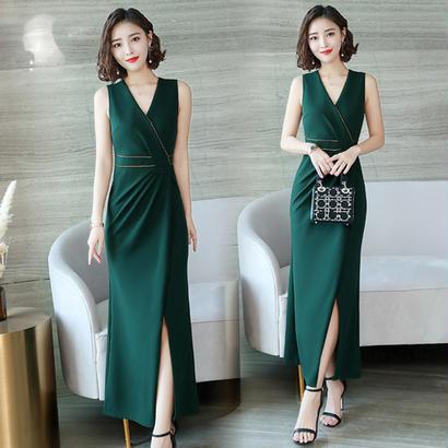 パーティードレス 結婚式 二次会 ワンピース 結婚式ドレス お呼ばれワンピース 20代 30代 40代 ロングドレス 緑