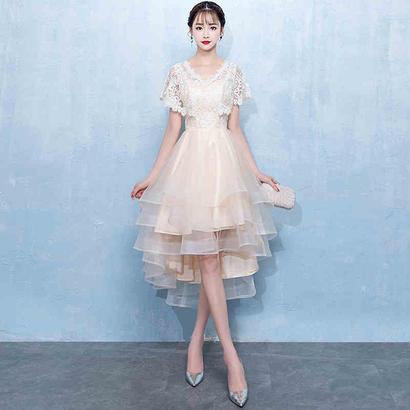 パーティードレス 結婚式 二次会 ワンピース 結婚式ドレス お呼ばれワンピース 20代 30代 40代 袖あり ミモレ丈 白 レース 花柄
