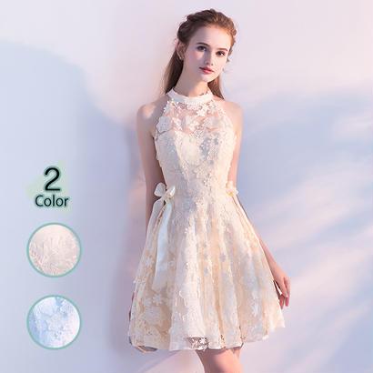 パーティードレス 結婚式 二次会 ワンピース 結婚式ドレス お呼ばれワンピース 20代 30代 40代 ミニ ショート レース 花柄 刺繍