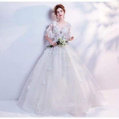 ウェディングドレス パーティードレス フレアスリーブ パール キラキラ 結婚式 披露宴 演奏会 花嫁 写真撮影 舞台衣装 ロング丈