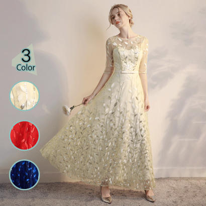 パーティードレス 結婚式 二次会 ワンピース 結婚式ドレス お呼ばれワンピース 20代 30代 40代 ロングドレス 袖あり イエロー レース