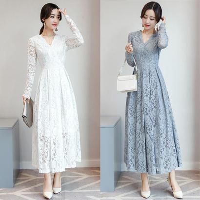 パーティードレス 結婚式 二次会 ワンピース 結婚式ドレス お呼ばれワンピース 20代 30代 40代 ロングドレス 袖あり 黒 白 ピンク