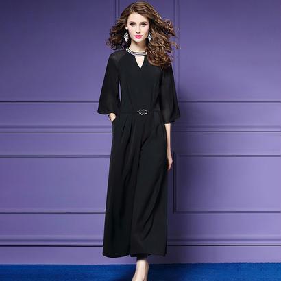 パーティードレス パンツ 結婚式 二次会 パンツドレス 結婚式ドレス お呼ばれドレス 20代 30代 40代 袖あり 黒