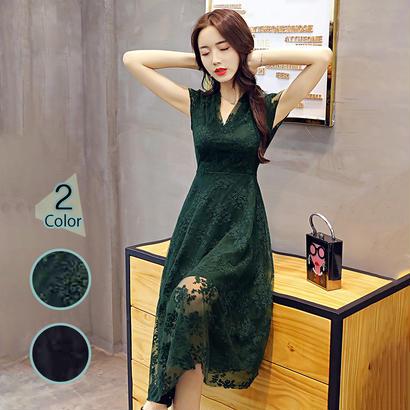 パーティードレス 結婚式 二次会 ワンピース 結婚式ドレス お呼ばれワンピース 20代 30代 40代 袖ありミモレ丈 黒 緑  レース 花柄 刺繍