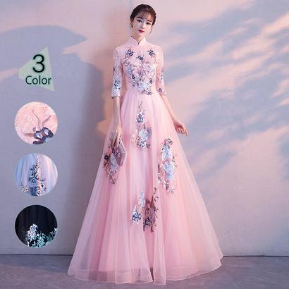 パーティードレス 結婚式 二次会 ワンピース 結婚式ドレス お呼ばれワンピース 20代 30代 40代 演奏会 ロングドレス 袖あり レース 花柄